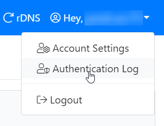 Authentication log